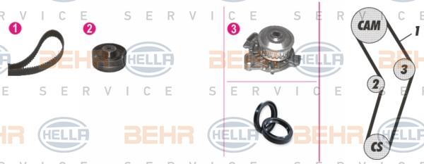 Pompe à eau + kit de courroie de distribution - HELLA - 8MP 376 807-841