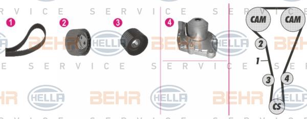 Pompe à eau + kit de courroie de distribution - HELLA - 8MP 376 812-851