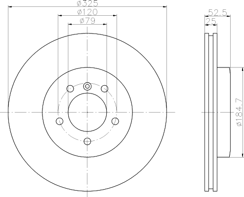 Disque de frein - HELLA - 8DD 355 121-021