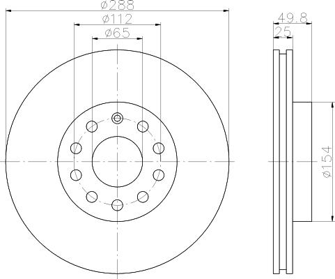 Disque de frein - HELLA - 8DD 355 109-581