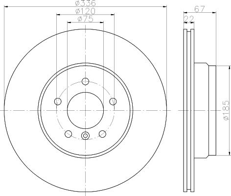 Disque de frein - HELLA - 8DD 355 122-001