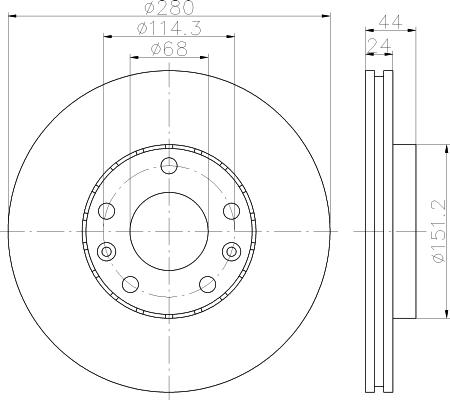 Disque de frein - HELLA - 8DD 355 116-151