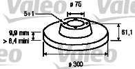 Disque de frein - VALEO - 186125