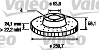 Disque de frein - VALEO - 186159