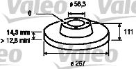 Disque de frein - VALEO - 186170
