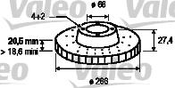 Disque de frein - VALEO - 186198