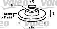 Disque de frein - VALEO - 186205