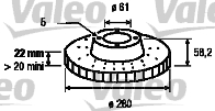 Disque de frein - VALEO - 186224