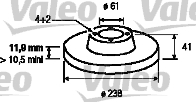 Disque de frein - VALEO - 186230