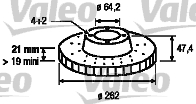Disque de frein - VALEO - 186286