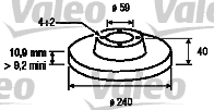 Disque de frein - VALEO - 186406