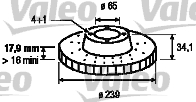 Disque de frein - VALEO - 186523