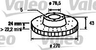 Disque de frein - VALEO - 186537