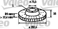 Disque de frein - VALEO - 186570