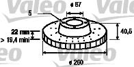 Disque de frein - VALEO - 186573