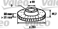 Disque de frein - VALEO - 186582