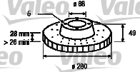 Disque de frein - VALEO - 186728