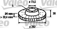 Disque de frein - VALEO - 186730