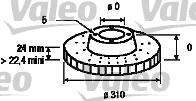 Disque de frein - VALEO - 186732
