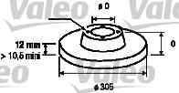 Disque de frein - VALEO - 186740
