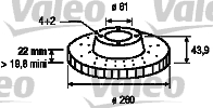 Disque de frein - VALEO - 186764