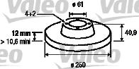 Disque de frein - VALEO - 186802