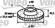 Disque de frein - VALEO - 186823