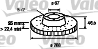 Disque de frein - VALEO - 186864
