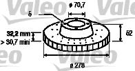 Disque de frein - VALEO - 197004