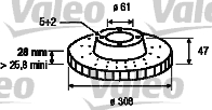 Disque de frein - VALEO - 197079