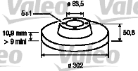 Disque de frein - VALEO - 197101