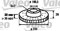 Disque de frein - VALEO - 197162