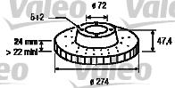 Disque de frein - VALEO - 197206