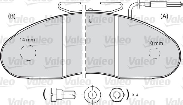 Kit de plaquettes de frein, frein à disque - VALEO - 598112