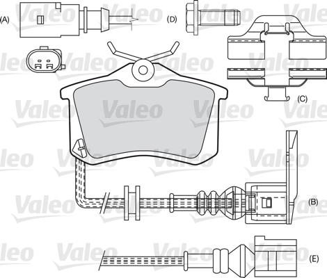 Kit de plaquettes de frein, frein à disque - VALEO - 598180