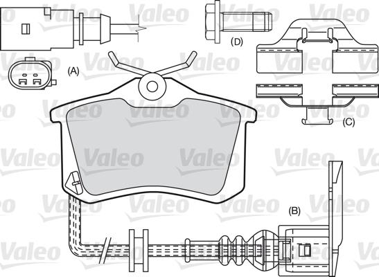 Kit de plaquettes de frein, frein à disque - VALEO - 598681