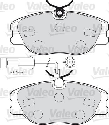 Kit de plaquettes de frein, frein à disque - VALEO - 598985