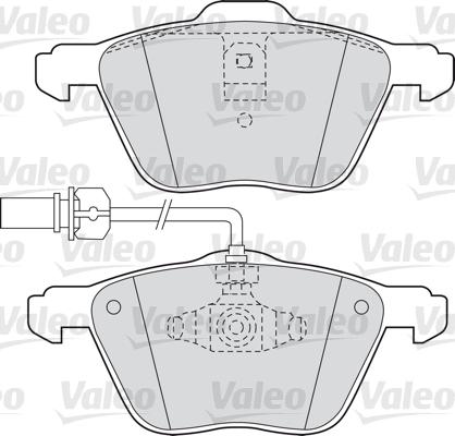 Kit de plaquettes de frein, frein à disque - VALEO - 598565