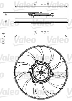Ventilateur, refroidissement du moteur - VALEO - 696001