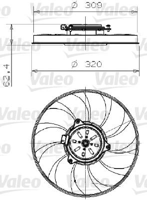 Ventilateur, refroidissement du moteur - VALEO - 696002