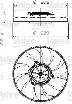 Ventilateur, refroidissement du moteur - VALEO - 696003