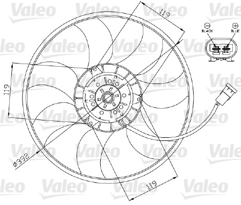 Ventilateur, refroidissement du moteur - VALEO - 696013