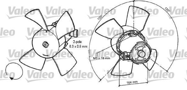 Ventilateur, refroidissement du moteur - VALEO - 696035