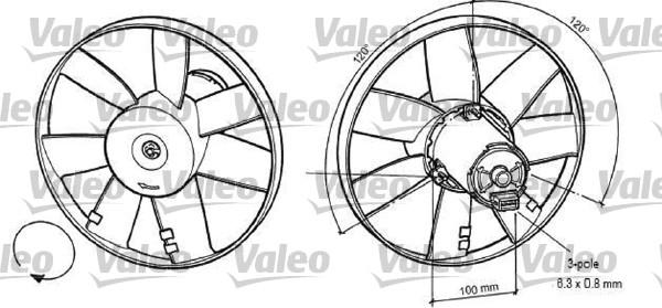 Ventilateur, refroidissement du moteur - VALEO - 696041