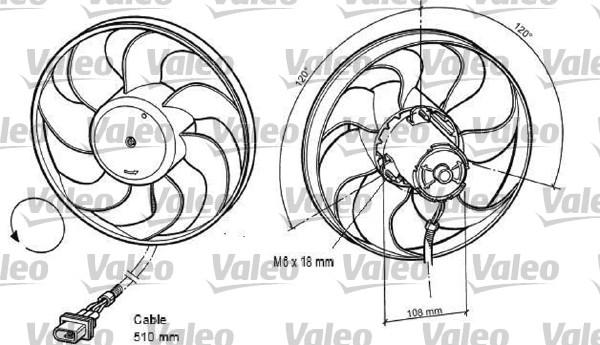 Ventilateur, refroidissement du moteur - VALEO - 696042