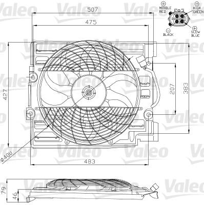 Moteur électrique, ventilateur pour radiateurs - VALEO - 696120