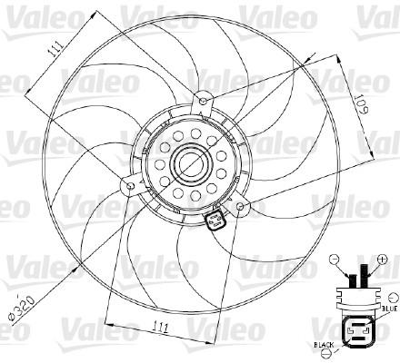 Ventilateur, refroidissement du moteur - VALEO - 696189
