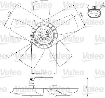 Ventilateur, refroidissement du moteur - VALEO - 696279