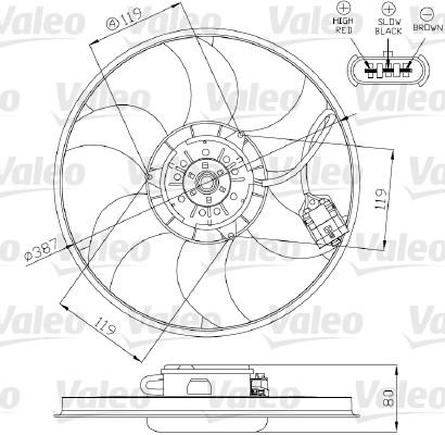 Ventilateur, refroidissement du moteur - VALEO - 696280