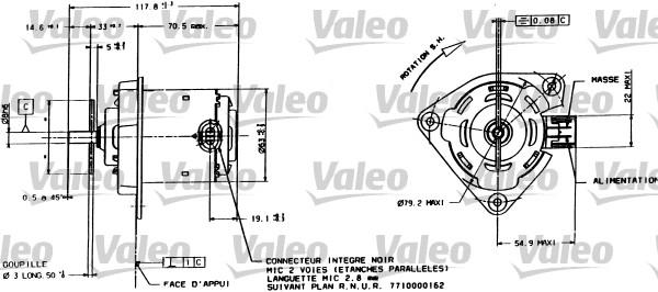Moteur électrique, ventilateur pour radiateurs - VALEO - 698015